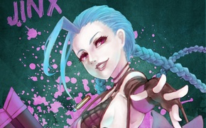 Picture girl, art, League of Legends, LoL, Jinx, MonoriRogue