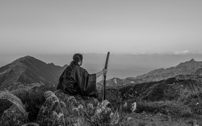 Picture mountains, nature, sword, katana, horizon, samurai, male, kimono
