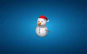 Picture hat, new year, Christmas, carrot, snowman, christmas, blue background, snowman
