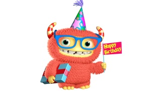 Picture monster, monster, smile, cartoon, character, funny, cute, happy birthday