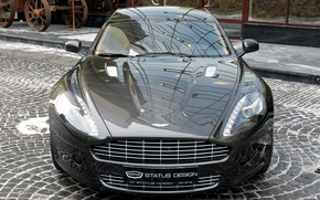 Picture reflection, Aston Martin, street, pavers