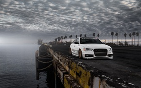 Picture Audi, Car, Front, Sunset, White, Stance, Vossen, Wheels, Tuned, Palms, Ligth