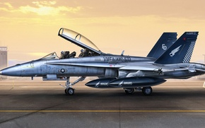 Picture figure, art, hornet, Douglas, Hornet, McDonnell, double training-combat variant, F/A-18D, American carrier-based fighter-bomber and attack …