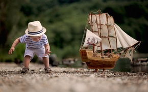 Picture model, the game, ship, boy, child