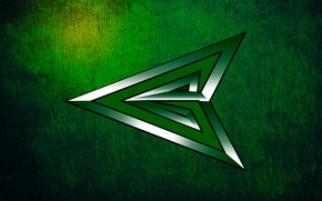 Picture green arrow, scratches, green, green arrow, background, combat., tip, silver, texture, emerald, shimmers, center