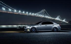 Picture Lexus, Car, Front, Bridge, Night, Silver