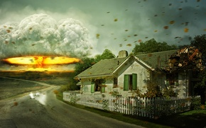 Picture the explosion, house, war, disaster, art