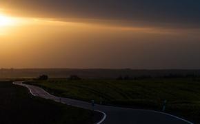 Picture road, landscape, sunset
