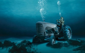 Wallpaper the diver, bubbles, water, tractor, the bottom