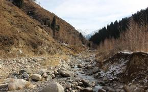 Picture snow, stones, Mountains, Autumn, Trees, river, Tree, Naked autumn