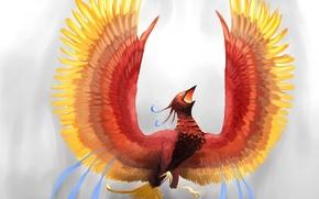 Picture look, background, fiction, fire, wings, feathers, art, Phoenix, Firebird, glow