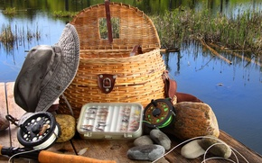 Picture spring, basket, Fly fishing equipment