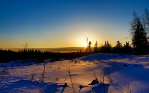 Wallpaper winter, field, the sky, the sun, clouds, rays, trees, sunset, nature, horizon