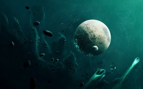 Wallpaper the bombing, planet, asteroids, space