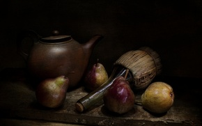 Picture style, bottle, kettle, pear, vintage