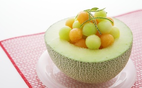 Picture background, food, plate, grapes, fruit, melon