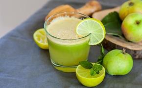 Picture Apple, lime, mint, cocktails