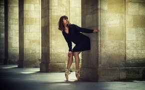 Picture dress, columns, legs, ballerina, Pointe shoes