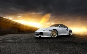 Wallpaper glare, front, Porsche, 911, Porsche, silver, sunset, silvery