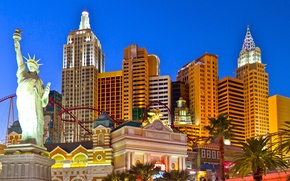 Wallpaper the sky, freedom, lights, Palma, the game, New York, Las Vegas, statue, USA, the excitement, ...