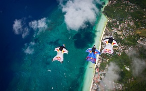 Picture The ocean, Coast, Red Bull, Parachute, LifeStyle, Extreme Sport, Wingsuit