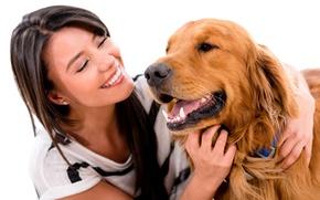 Picture girl, smile, dog, brunette, white background, Retriever