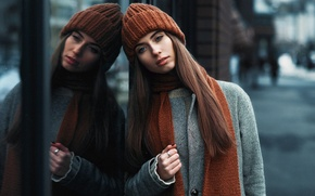 Picture look, girl, city, reflection, sweetheart, hat, portrait, scarf, brown hair, coat, blue-eyed, beauty, bokeh, Yulia, …