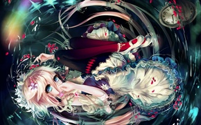 Picture water, girl, watch, anime, petals, art, vocaloid, Sygnallost