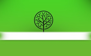 Picture field, green, background, white, Tree