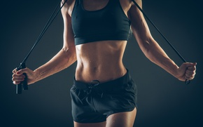 Picture fitness, sportswear, transpiration, jump rope