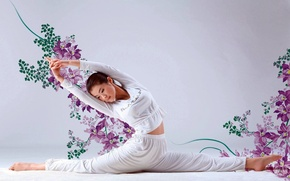 Picture FLOWERS, BROWN hair, ASIAN, COSTUME, FLEXIBILITY, TWINE, PLASTIC, GYMNASTICS