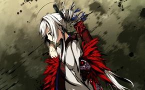 Picture girl, feathers, yukata, art, prayer, g yuusuke, kaji wait to wring kaguya