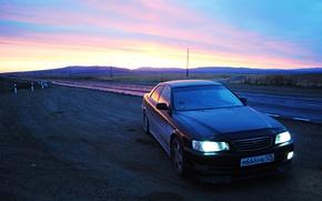 Picture road, orange, black, kettle, Toyota, Russia, rasvet, 100, Chaser, Siberia, Toyota Chaser, chaser