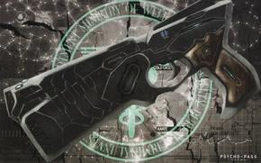 Picture cracked, gun, emblem, art, psycho-pass, psycho-passport, super-weapons, kyoji asano