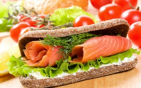 Picture fish, bread, sandwich, tomatoes, fish, bread, tomatoes, Fast food