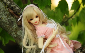 Picture leaves, tree, doll, blonde, ribbons, doll, BJD, pink dress