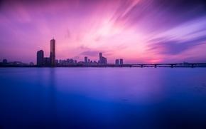 Picture sunset, bridge, river, building, South Korea, Seoul, Seoul, South Korea, the Han river, Han River