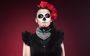 Picture girl, makeup, mask