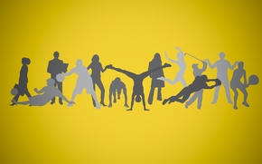 Picture background, people, sport, silhouette