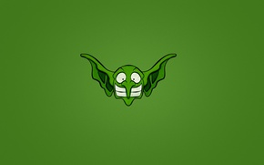 Picture smile, minimalism, head, Goblin, green background, eared, big-nosed, goblin
