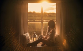 Picture girl, pillow, window, legs, Natural touch