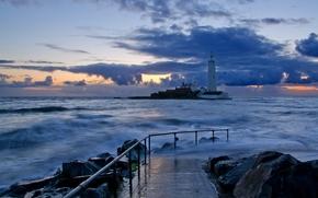 Picture sea, landscape, night, lighthouse