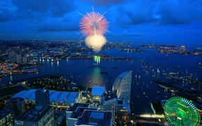 Picture fireworks, home, Japan, salute, sea, lights, Ferris wheel, Bay, night, the city, Yokohama