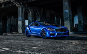 Picture Mercedes, Benz, side, blue, CLS550