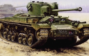 Picture figure, tank, British, Valentine