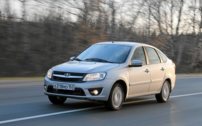 Picture road, car, Lada, Lada, Granta, Grant, best seller, liftback