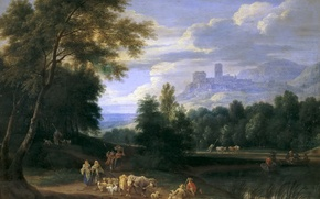 Picture animals, mountains, people, castle, tower, picture, Adrian Frans Boudewyns, Landscape with Shepherds