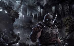 Picture city, Microsoft, battlefield, soldier, sky, chaos, Gears of War, war, man, hand, armour, warrior, invasion, …