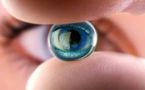 Picture eye, fingers, ocular lens