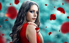 Picture girl, petals, Alessandro Di Cicco, Love me, love me not